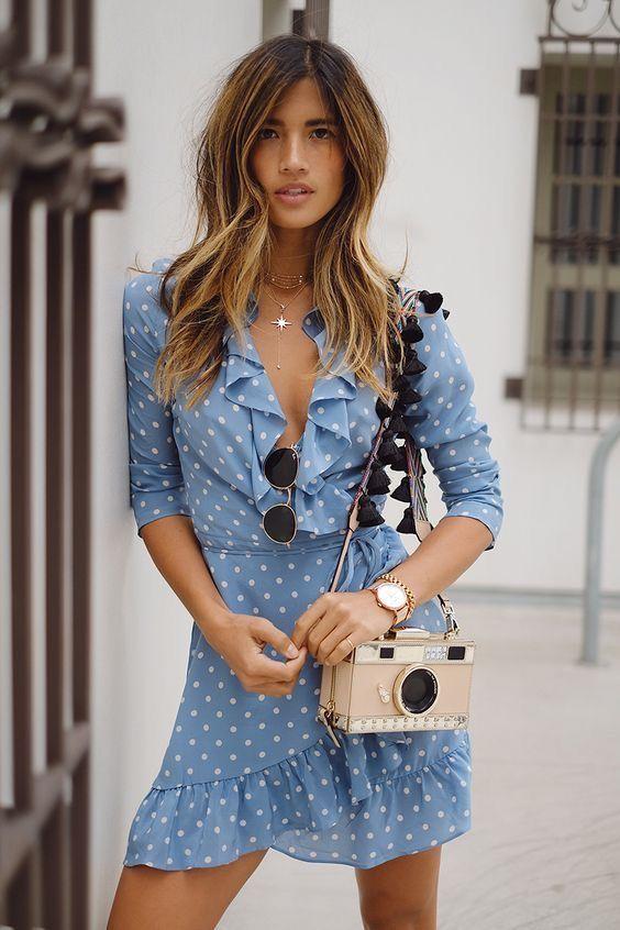 bag polka dot dress