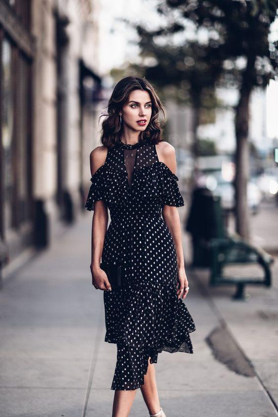 cold shoulder polka dot dress