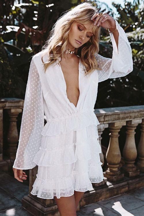 white polka dot dress