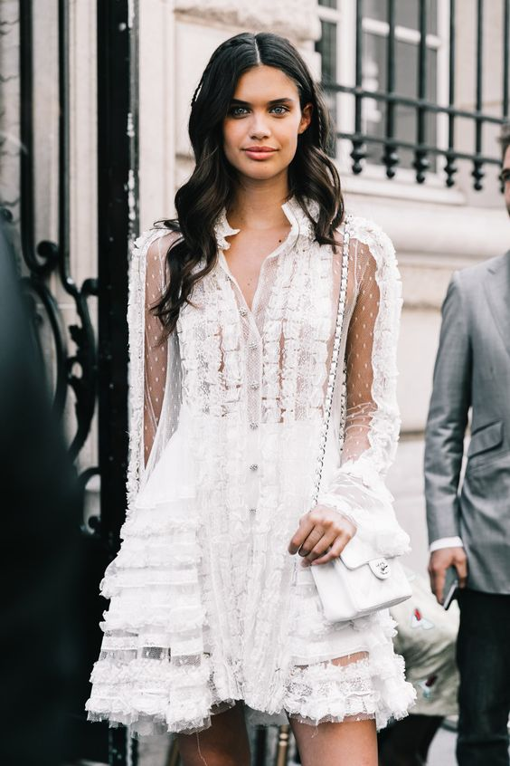 modern white lace dress
