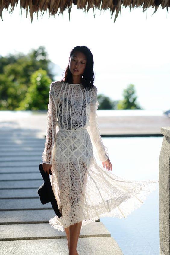 wet stylish white lace dress