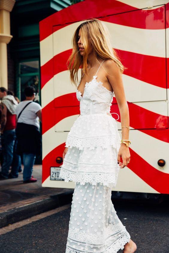 layered white lace dress
