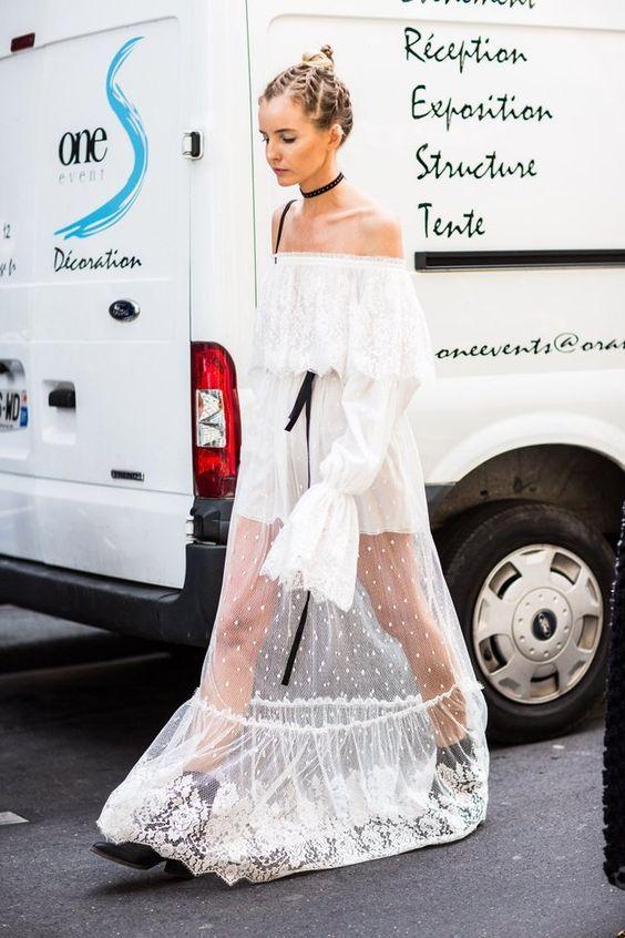 maxi transparent white lace dress