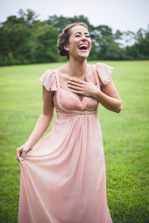 soft pink empire waist dress