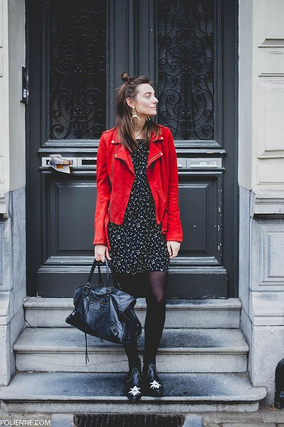 floral dress red leather jacket