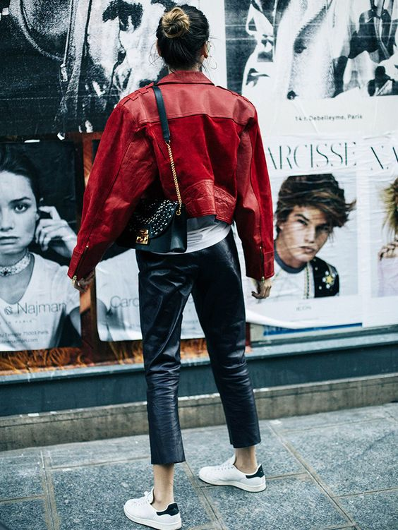 leather pants red leather jacket
