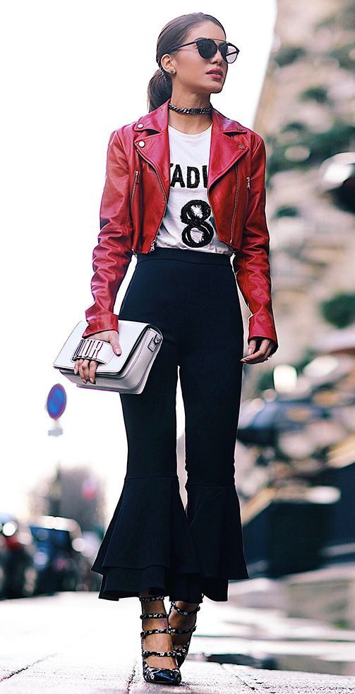 bell flare pants red leather jacket