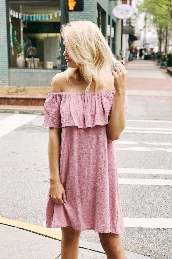 pink of the shoulder dress