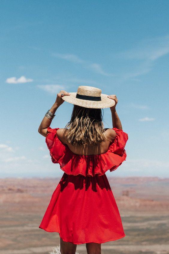 red of the shoulder dress