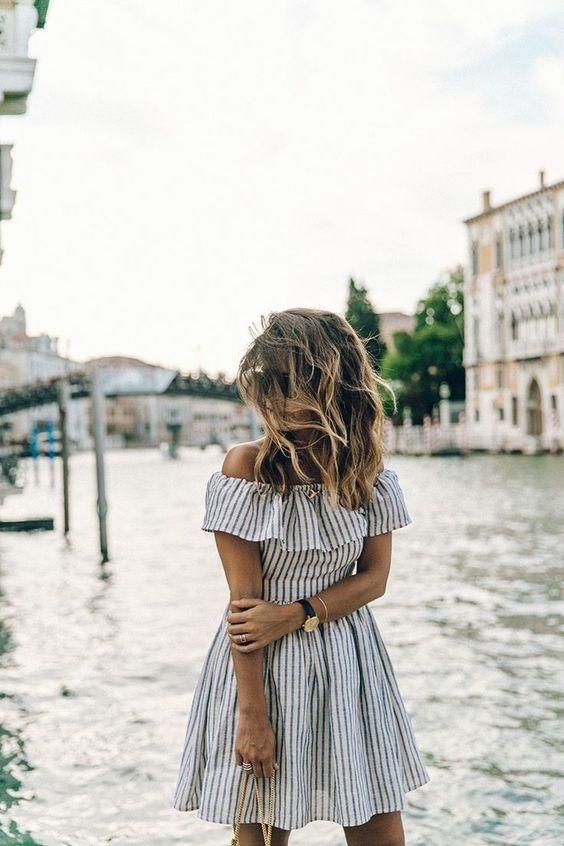 blue striped of the shoulder dress