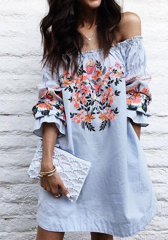 floral of the shoulder dress blue