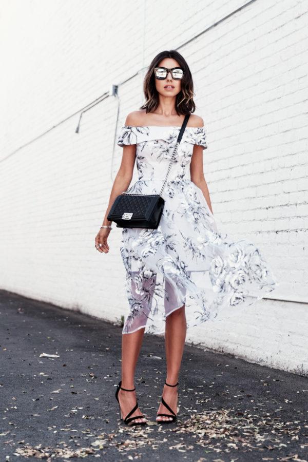 floral of the shoulder dress white
