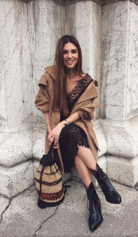 lace dress outfit camel coat