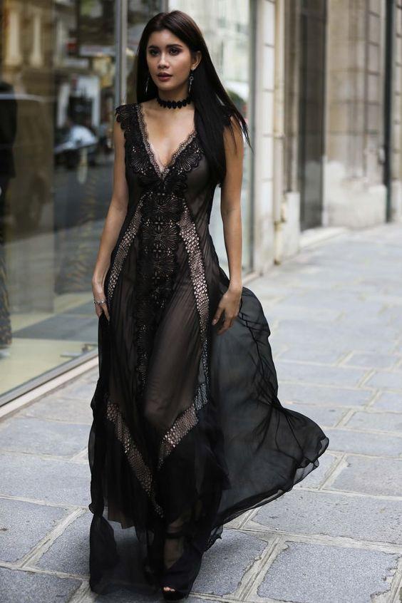 black lace maxi dress sexy