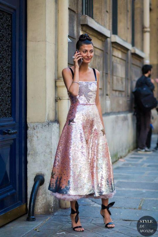 sparkling tea length dress