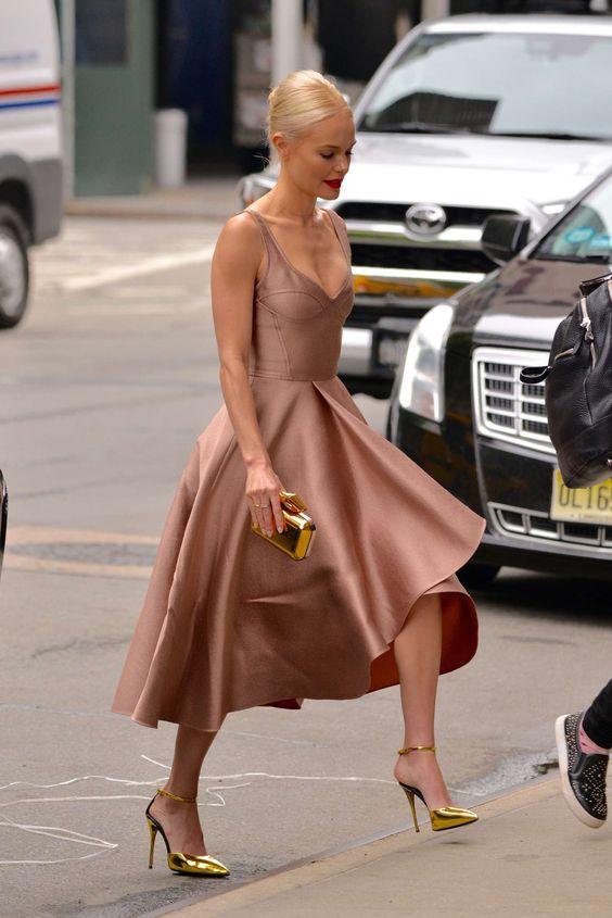 soft pink tea dress