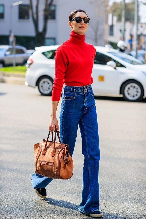 red turtleneck bell jeans