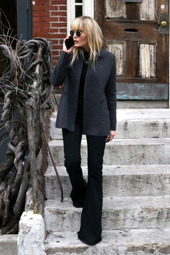 gray jacket black watch jeans