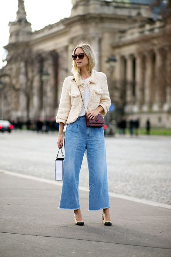 cropped bell bottom jeans