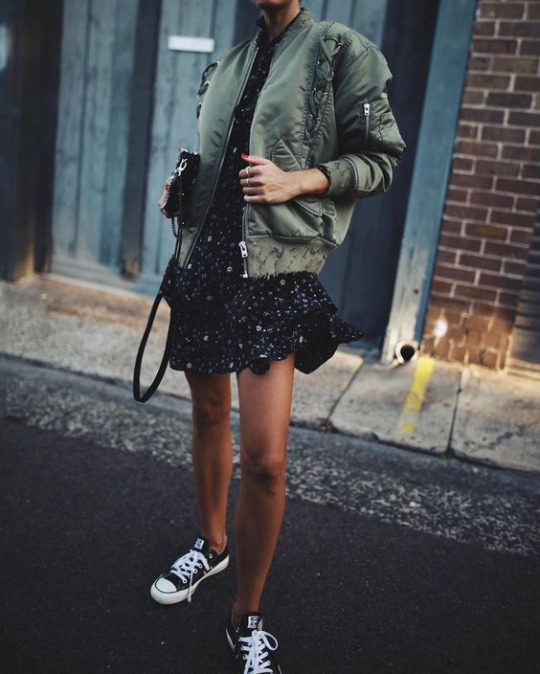 floral dress green bomber jacket