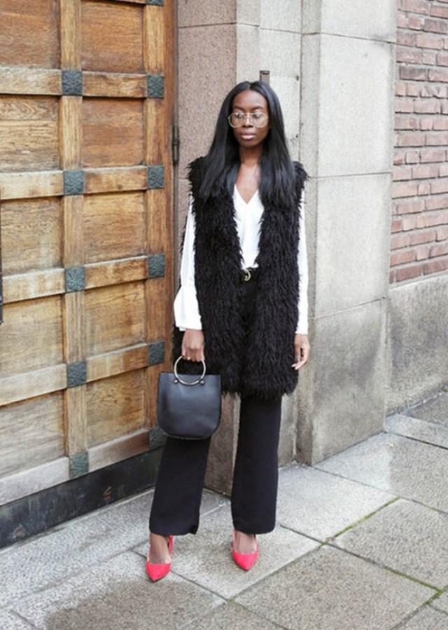 faux fur vest long black