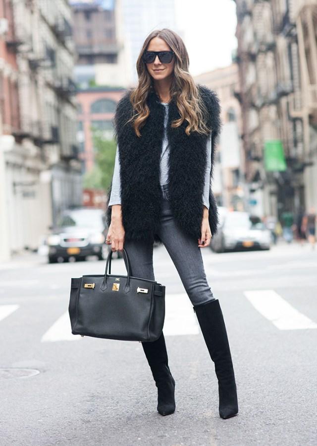 faux fur vest gray jeans