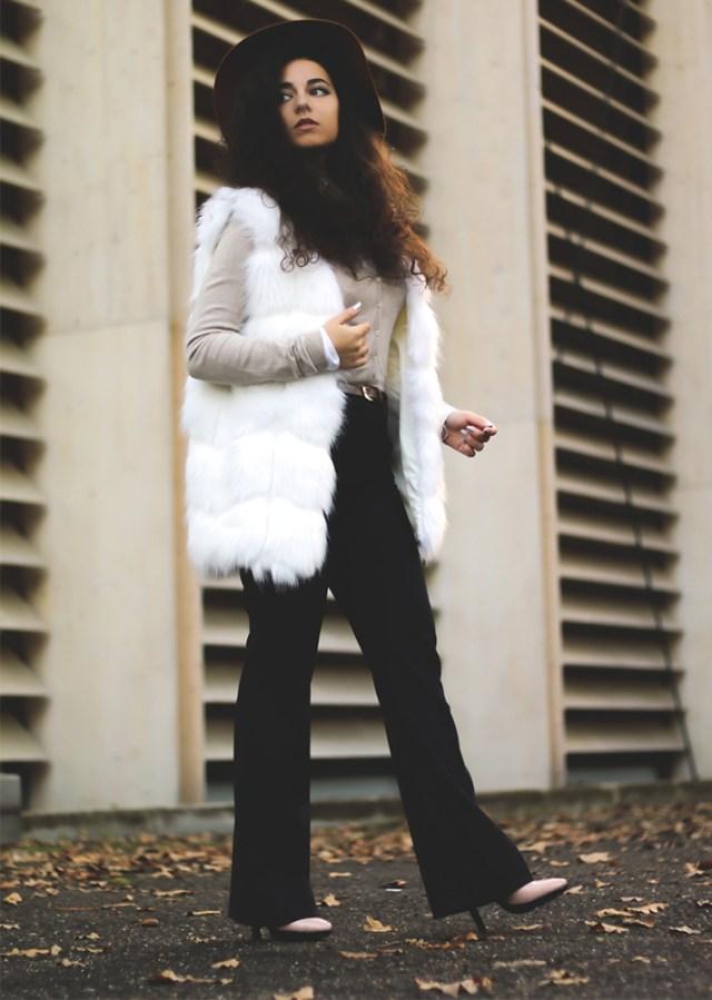 faux fur vest white