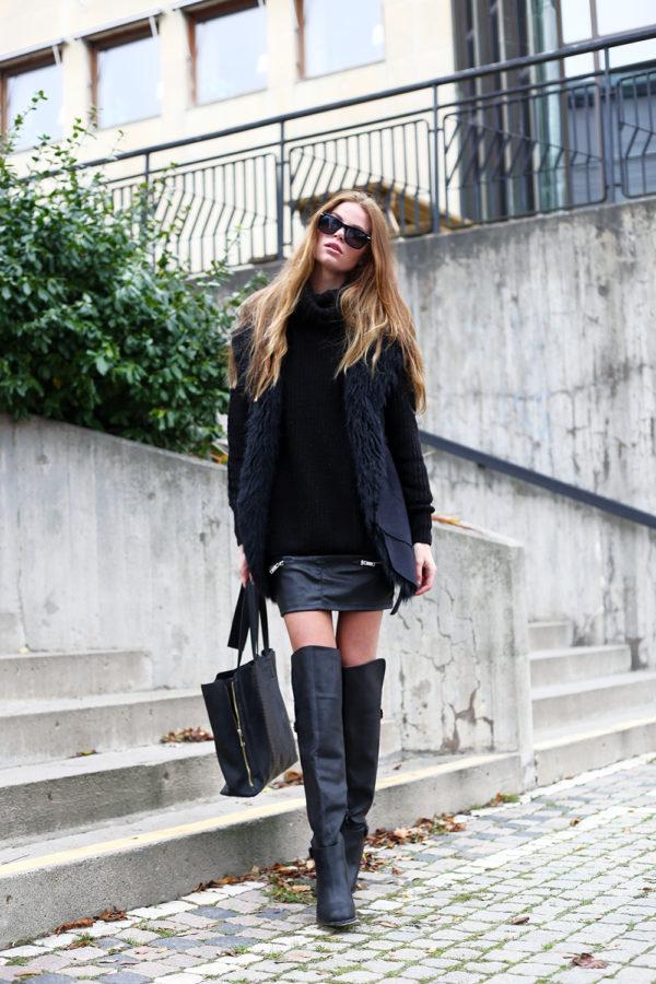 faux fur vest leather mini skirt