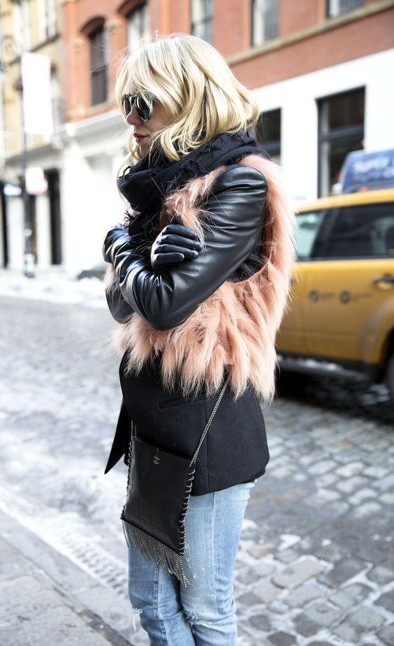 faux fur vest short pink