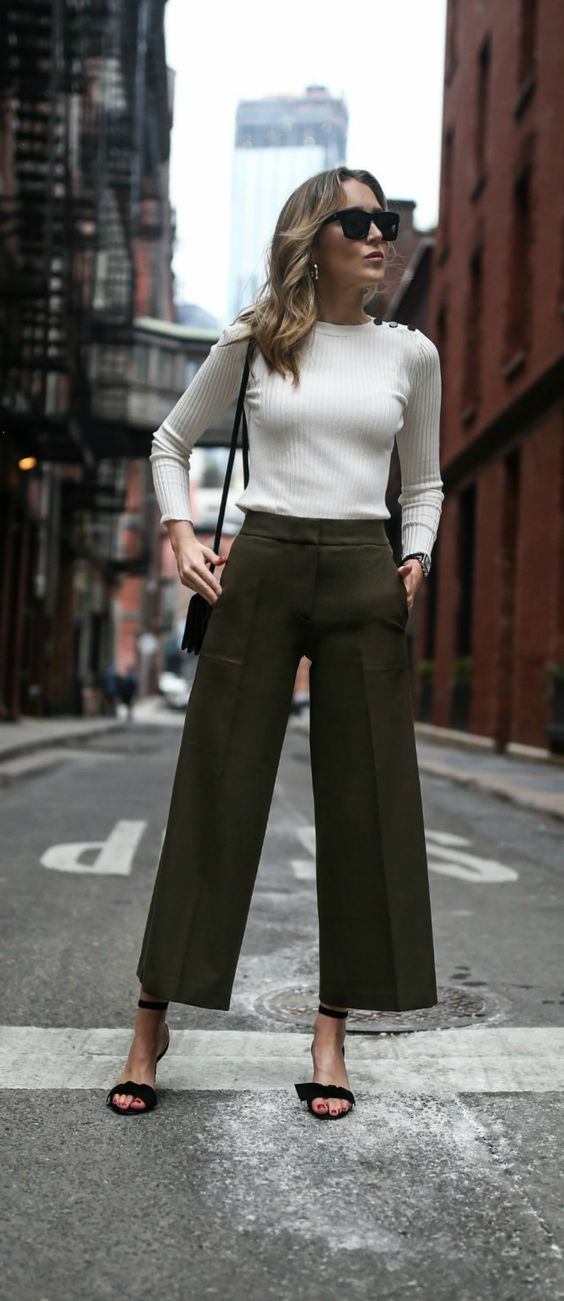wide legs olive white