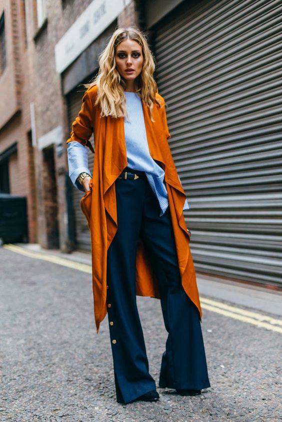 wide legs orange navy blue