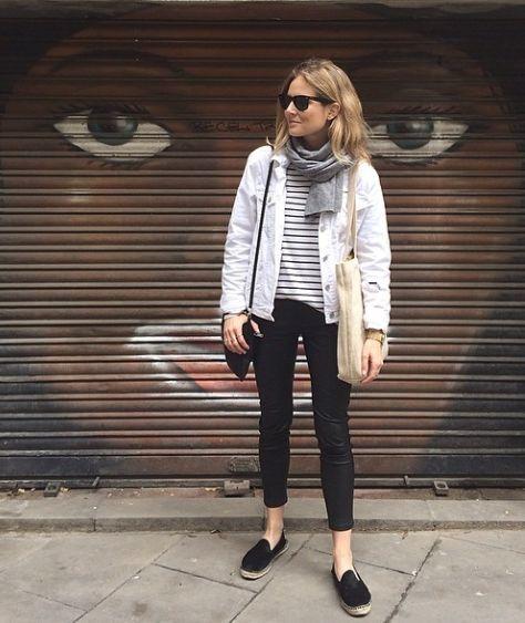 white denim jacket black pants