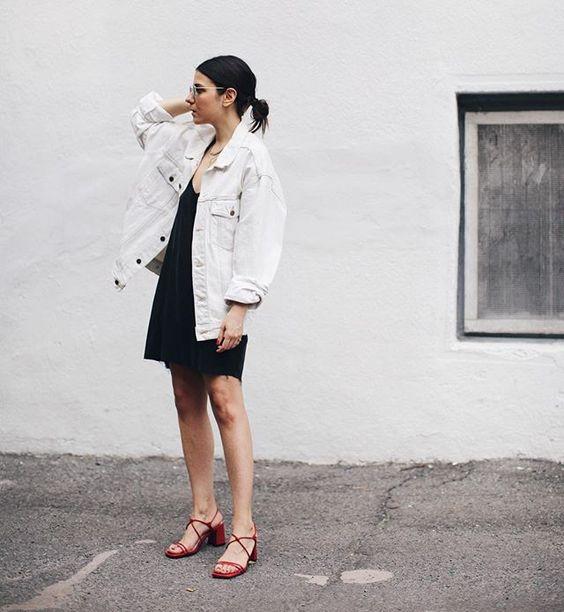 white denim jacket black dress