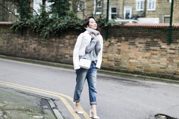 white denim jacket turtleneck