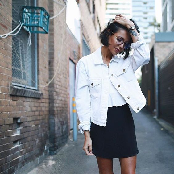 white denim jacket black skirt