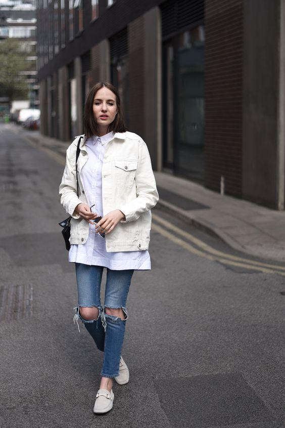 white denim jacket blue jeans