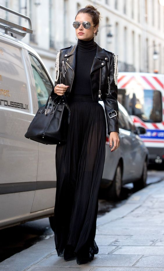 cropped leather jacket maxi skirt