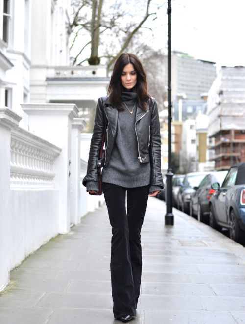 cropped leather jacket turtleneck