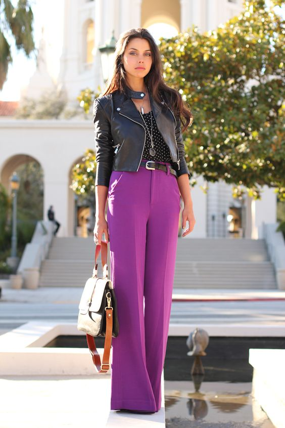 cropped leather jacket color blocks