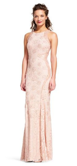 baby pink lace halter dress maxi