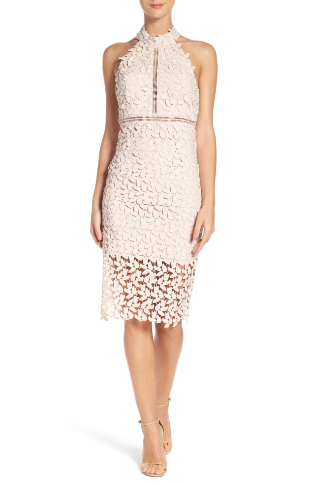 baby pink lace halter dress midi