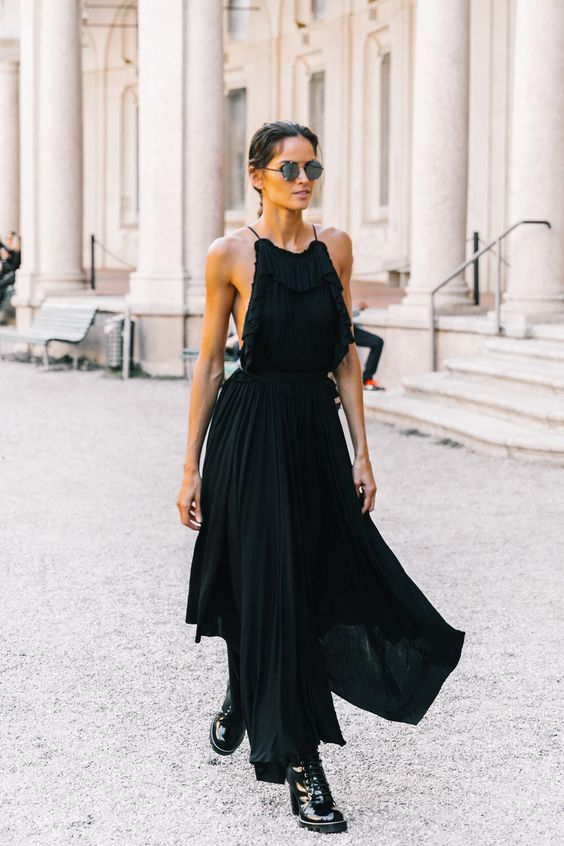 black back maxi dress neckline