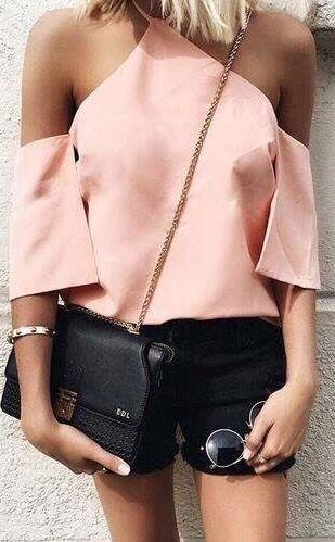 light pink top halter neck