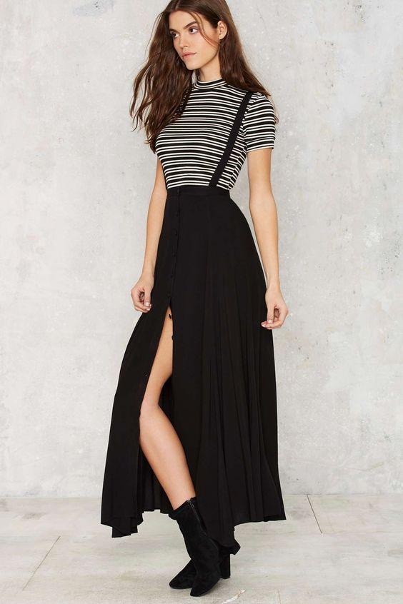 maxi braces skirt