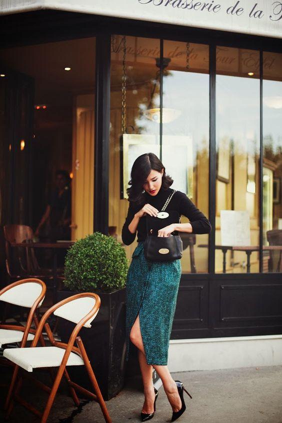 tweed skirt green black