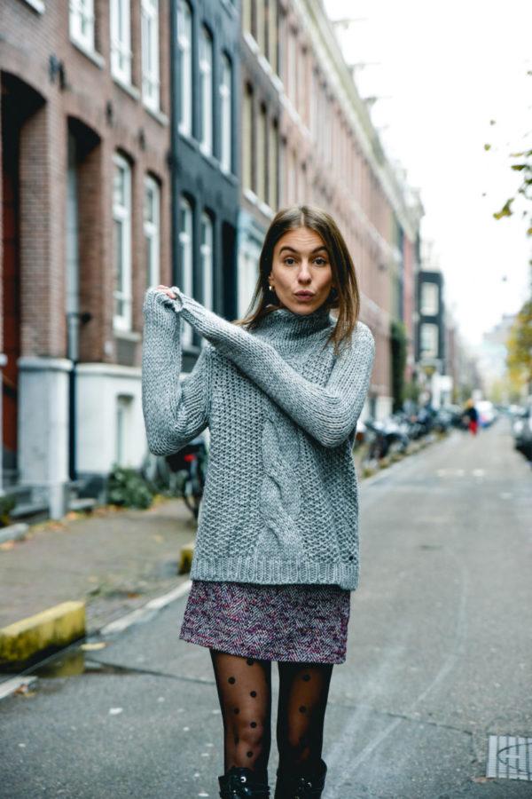 tweed skirt dots