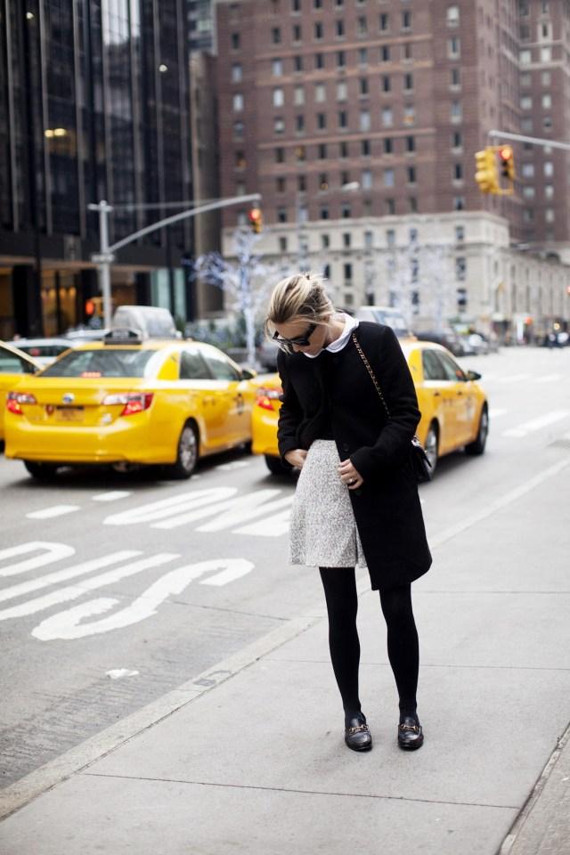 tweed skirt white collar