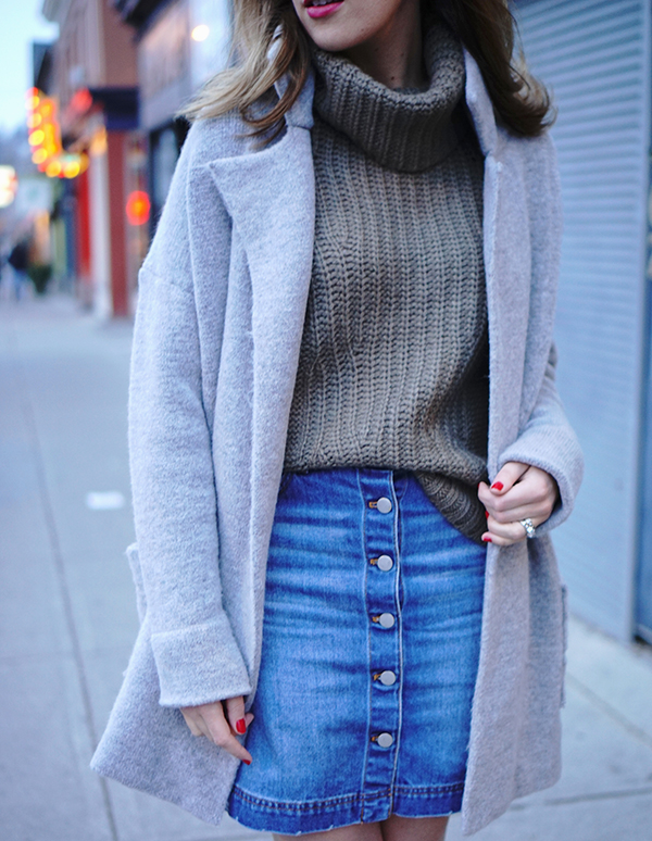 gray coat denim