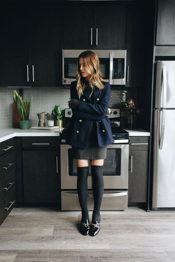 military jacket with high socks