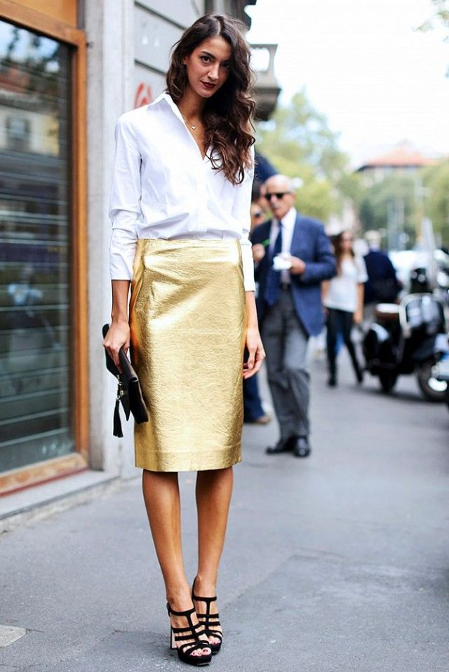 gold skirt white shirt